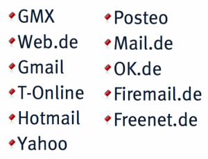 Publicare - E-Mail Freemail-Dienste Aufzählung