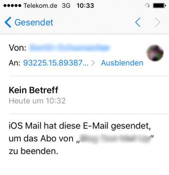 Abbildung 3: Automatisch generierte Abmelde-Mail von iOS