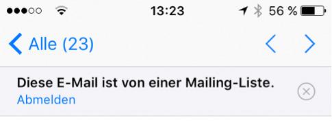 Abbildung 1: Neu in iOS 10: der Link zum Abmelden über Absender und Mail-Subject