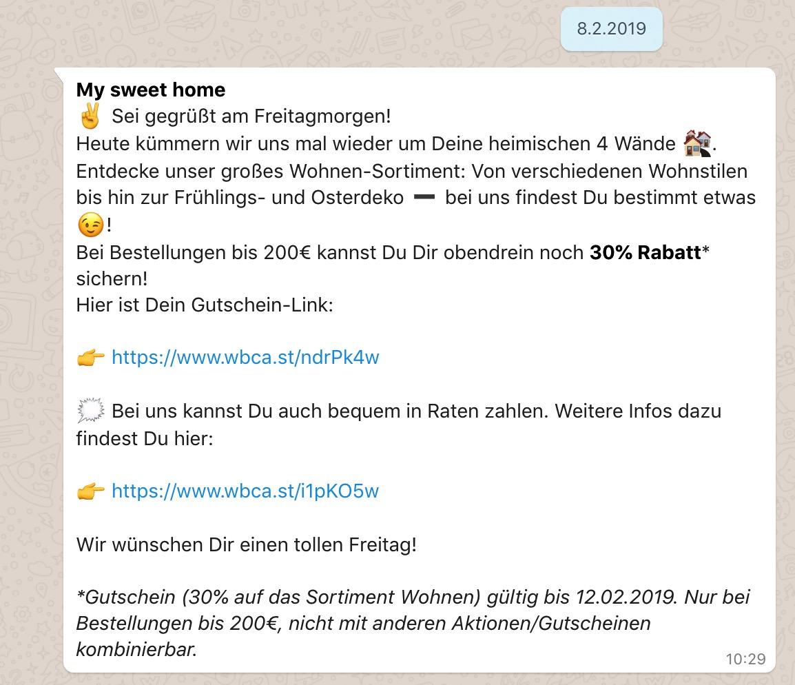 Whatsapp Beispiel Bonprix