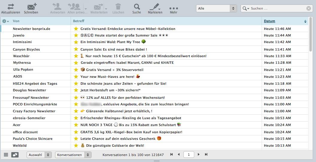 Inbox Screenshot mit über 17000 Marketing-E-Mails