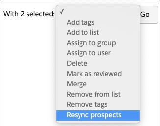 Resync prospects salesforce pardot